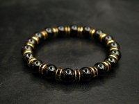 ブラックオニキス8ミリ+ロンデルパーツ<金色×ブラック>