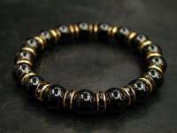 ブラックオニキス10ミリ+ロンデルパーツ<金色×ブラック>
