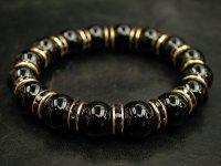ブラックオニキス12ミリ+ロンデルパーツ<金色×ブラック>