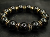 ブラックオニキス16ミリ+ロンデルパーツ<金色×ブラック>