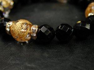 画像3: 四神獣 水晶金彫り12ミリ+カットオニキス10ミリ