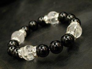 画像2: 四神獣 水晶素彫り14ミリ+ブラックオニキス12ミリ