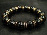 ブラックオニキス14ミリ+ロンデルパーツ<金色×ブラック>