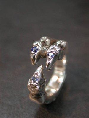 画像1: CLAW RING with SAPPHIRE 3 Pieces